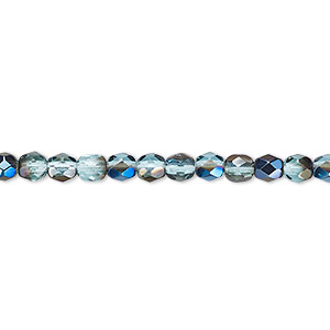 bead, czech fire-polished glass, teal blue iris, 4mm faceted round. sold per 16-inch strand.