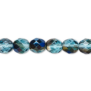 bead, czech fire-polished glass, teal blue iris, 8mm faceted round. sold per 16-inch strand.