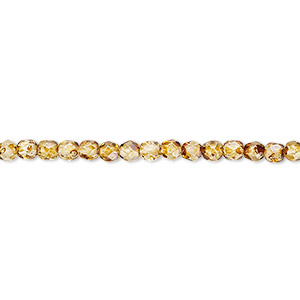 bead, czech fire-polished glass, tortoise gold, 3mm faceted round. sold per 16-inch strand, approximately 130 beads.