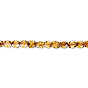 bead, czech fire-polished glass, tortoise gold, 4mm faceted round. sold per 16-inch strand, approximately 100 beads.