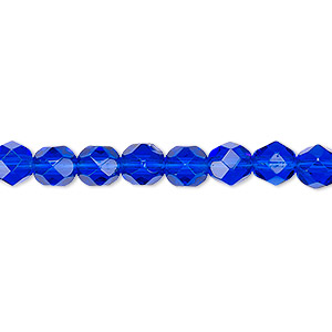 bead, czech fire-polished glass, translucent cobalt, 6mm faceted round. sold per pkg of 1,200 (1 mass).
