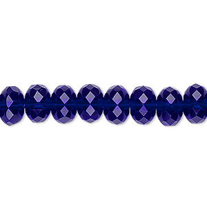 bead, czech fire-polished glass, translucent cobalt, 9x5mm faceted rondelle. sold per 16-inch strand.