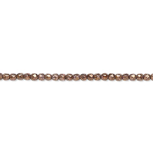 bead, czech fire-polished glass, translucent copper luster, 2mm faceted round with 0.5mm hole. sold per 8-inch strand, approximately 95-100 beads.