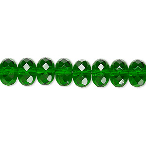 bead, czech fire-polished glass, translucent emerald green, 9x5mm faceted rondelle. sold per 16-inch strand.