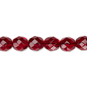 bead, czech fire-polished glass, translucent garnet red, 8mm faceted round. sold per 16-inch strand, approximately 50 beads.