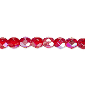 bead, czech fire-polished glass, translucent light red ab, 6mm faceted round. sold per 16-inch strand.