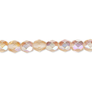 bead, czech fire-polished glass, translucent light rose ab, 6mm faceted round. sold per pkg of 1,200 (1 mass).