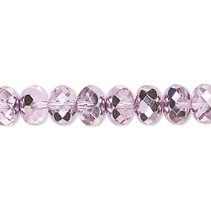 bead, czech fire-polished glass, translucent metallic pink silver, 9x5mm faceted rondelle. sold per 16-inch strand.