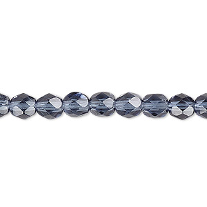 bead, czech fire-polished glass, translucent montana blue, 6mm faceted round. sold per pkg of 1,200 (1 mass).