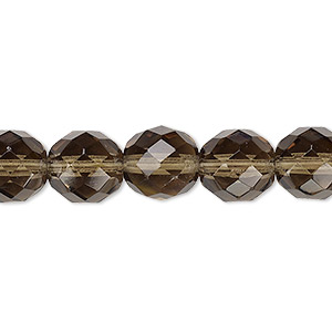 bead, czech fire-polished glass, translucent smoke, 10mm faceted round. sold per 16-inch strand, approximately 40 beads.
