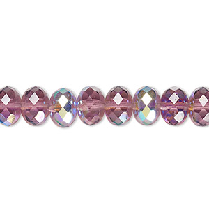 bead, czech fire-polished glass, transparent amethyst purple ab, 9x5mm faceted rondelle. sold per 16-inch strand.