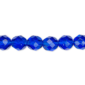 bead, czech fire-polished glass, transparent cobalt, 8mm faceted round. sold per 16-inch strand, approximately 50 beads.