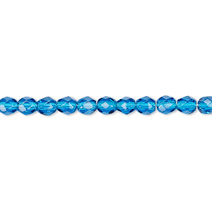 bead, czech fire-polished glass, transparent dark aqua blue, 4mm faceted round. sold per 16-inch strand, approximately 100 beads.
