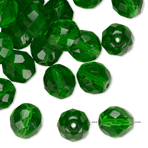 bead, czech fire-polished glass, transparent green, 10mm faceted round. sold per pkg of 40.