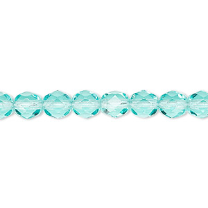 bead, czech fire-polished glass, transparent light aqua, 6mm faceted round. sold per 16-inch strand, approximately 65 beads.