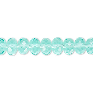 bead, czech fire-polished glass, transparent light aqua, 9x5mm faceted rondelle. sold per 16-inch strand.