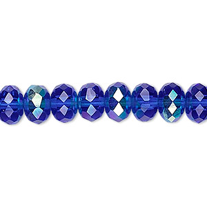 bead, czech fire-polished glass, transparent light cobalt ab, 9x5mm faceted rondelle. sold per 16-inch strand.