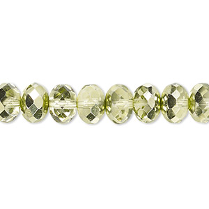 bead, czech fire-polished glass, transparent metallic green, 9x5mm faceted rondelle. sold per 16-inch strand.