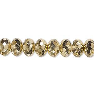 bead, czech fire-polished glass, transparent metallic pale gold, 9x5mm faceted rondelle. sold per 16-inch strand.