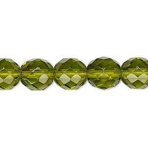 bead, czech fire-polished glass, transparent olivine, 10mm faceted round. sold per 16-inch strand, approximately 40 beads.