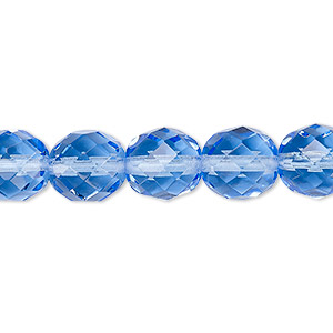 bead, czech fire-polished glass, transparent sapphire blue, 10mm faceted round. sold per 16-inch strand, approximately 40 beads.