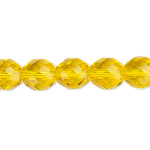 bead, czech fire-polished glass, transparent yellow, 10mm faceted round. sold per 16-inch strand, approximately 40 beads.