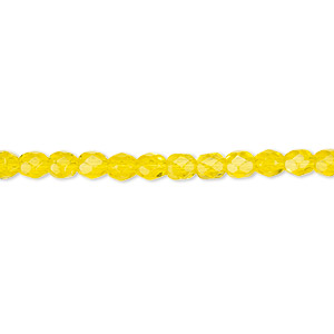 bead, czech fire-polished glass, transparent yellow, 4mm faceted round. sold per 16-inch strand, approximately 100 beads.