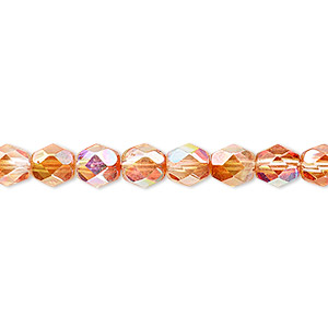 bead, czech fire-polished glass, two-tone clear ab and apricot medium, 6mm faceted round. sold per 16-inch strand.