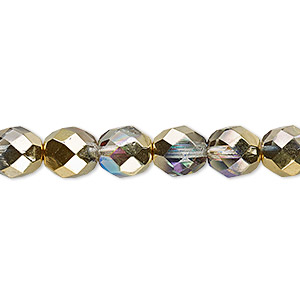bead, czech fire-polished glass, two-tone clear ab and metallic amber gold, 8mm faceted round. sold per 16-inch strand.