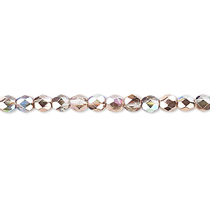 bead, czech fire-polished glass, two-tone clear ab and metallic capri gold, 4mm faceted round. sold per 16-inch strand.