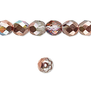 bead, czech fire-polished glass, two-tone clear ab and metallic capri gold, 8mm faceted round. sold per 16-inch strand.