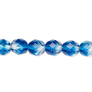 bead, czech fire-polished glass, two-tone, crystal / aqua, 8mm faceted round. sold per pkg of 1/2 mass.
