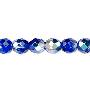 bead, czech fire-polished glass, two-tone, crystal / dark blue ab, 8mm faceted round. sold per pkg of 1/2 mass.