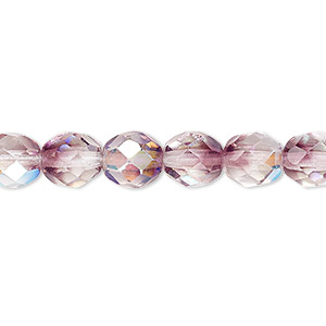 bead, czech fire-polished glass, two-tone, crystal/amethyst purple ab, 8mm faceted round. sold per 16-inch strand.