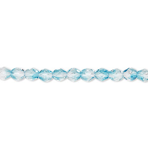 bead, czech fire-polished glass, two-tone, crystal/aqua, 4mm faceted round. sold per 16-inch strand.