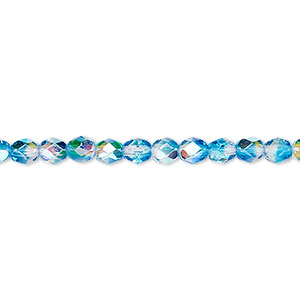 bead, czech fire-polished glass, two-tone, crystal/aqua ab, 4mm faceted round. sold per 16-inch strand.