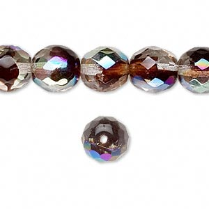 bead, czech fire-polished glass, two-tone, crystal/brown-red ab, 10mm faceted round. sold per 16-inch strand.