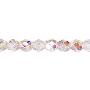 bead, czech fire-polished glass, two-tone, crystal/lavender ab, 6mm faceted round. sold per 16-inch strand.
