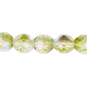 bead, czech fire-polished glass, two-tone, crystal/peridot green ab, 10mm faceted round. sold per 16-inch strand.