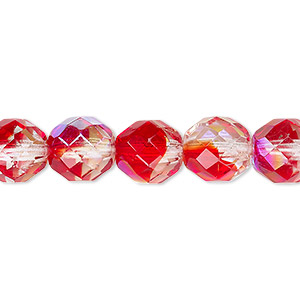 bead, czech fire-polished glass, two-tone, crystal/red ab, 10mm faceted round. sold per 16-inch strand.
