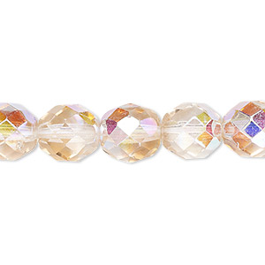 bead, czech fire-polished glass, two-tone, crystal/rose ab, 10mm faceted round. sold per 16-inch strand.