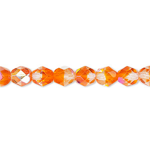 bead, czech fire-polished glass, two-tone, translucent clear and orange ab, 6mm faceted round. sold per 16-inch strand.
