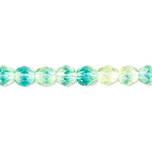 bead, czech fire-polished glass, yellow and blue, 6mm faceted round. sold per 16-inch strand.