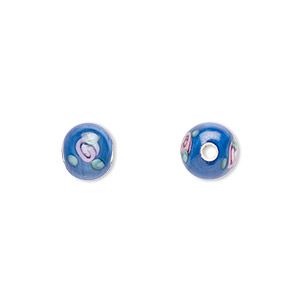 bead, czech glass, blue with flowers, 6mm round. sold per pkg of 10.