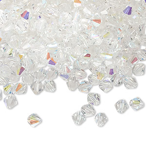 bead, czech glass, clear ab, 4mm faceted bicone. sold per pkg of 1,440 (10 gross).