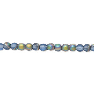 bead, czech glass druk, frosted translucent iris blue, 4mm round. sold per 16-inch strand.