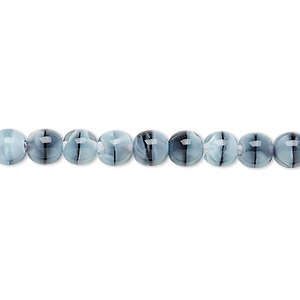 bead, czech glass druk, light blue and black, 6mm round. sold per 16-inch strand.