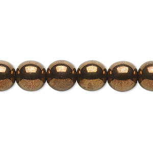 bead, czech glass druk, opaque antique gold luster, 10mm round. sold per 16-inch strand.