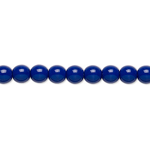 bead, czech glass druk, opaque dark blue, 6mm round. sold per 16-inch strand.
