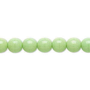 bead, czech glass druk, opaque green, 8mm round. sold per 16-inch strand, approximately 50 beads.